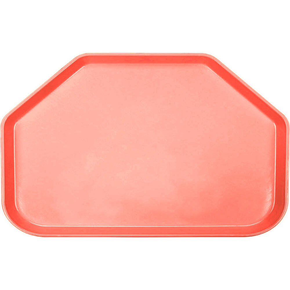 "Dark Peach, 14""x22"" Trapezoid Food Trays, Fiberglass, 12/PK"