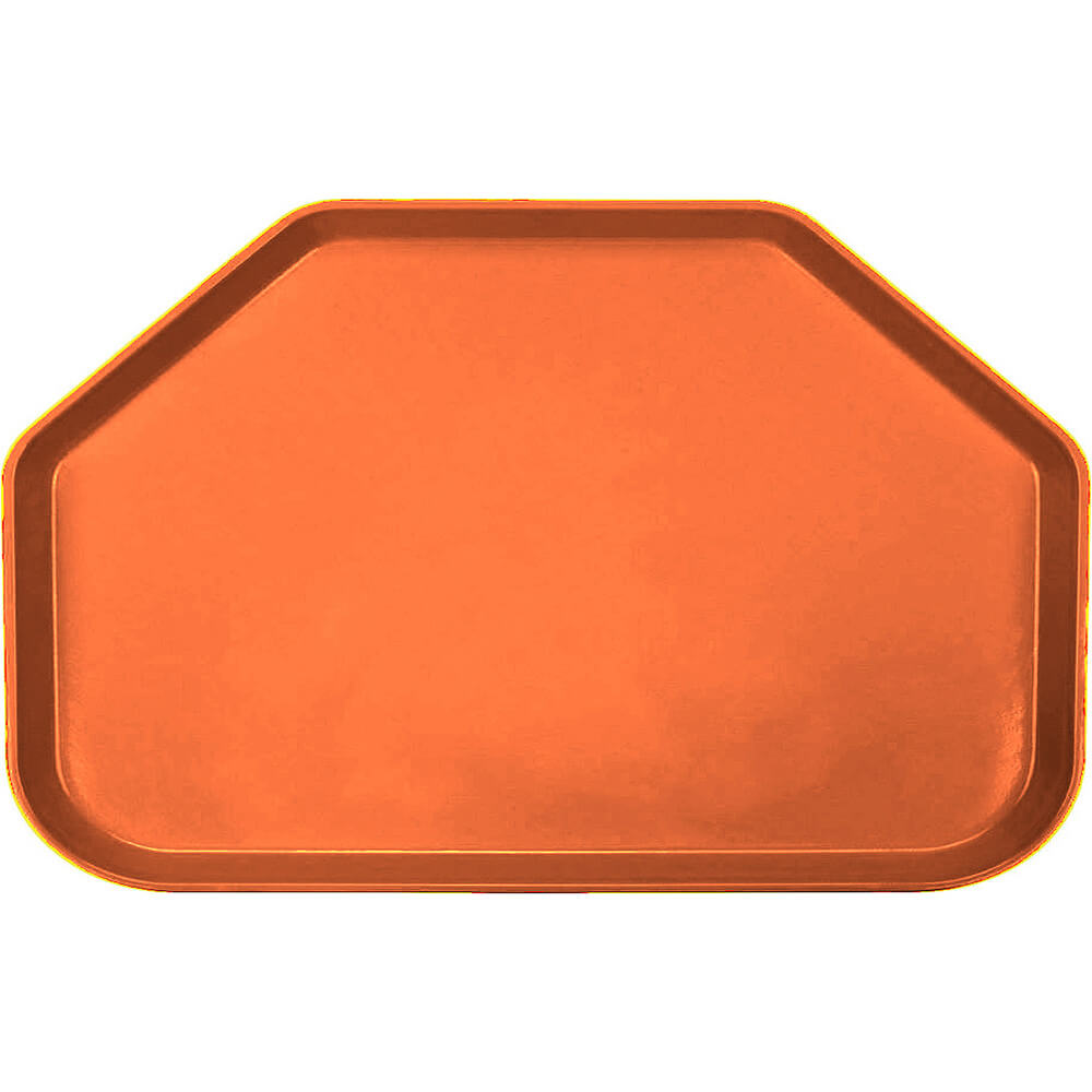 "Citrus Orange, 14""x22"" Trapezoid Food Trays, Fiberglass, 12/PK"