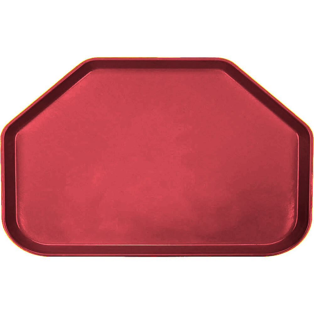 "Ever Red, 14""x22"" Trapezoid Food Trays, Fiberglass, 12/PK"