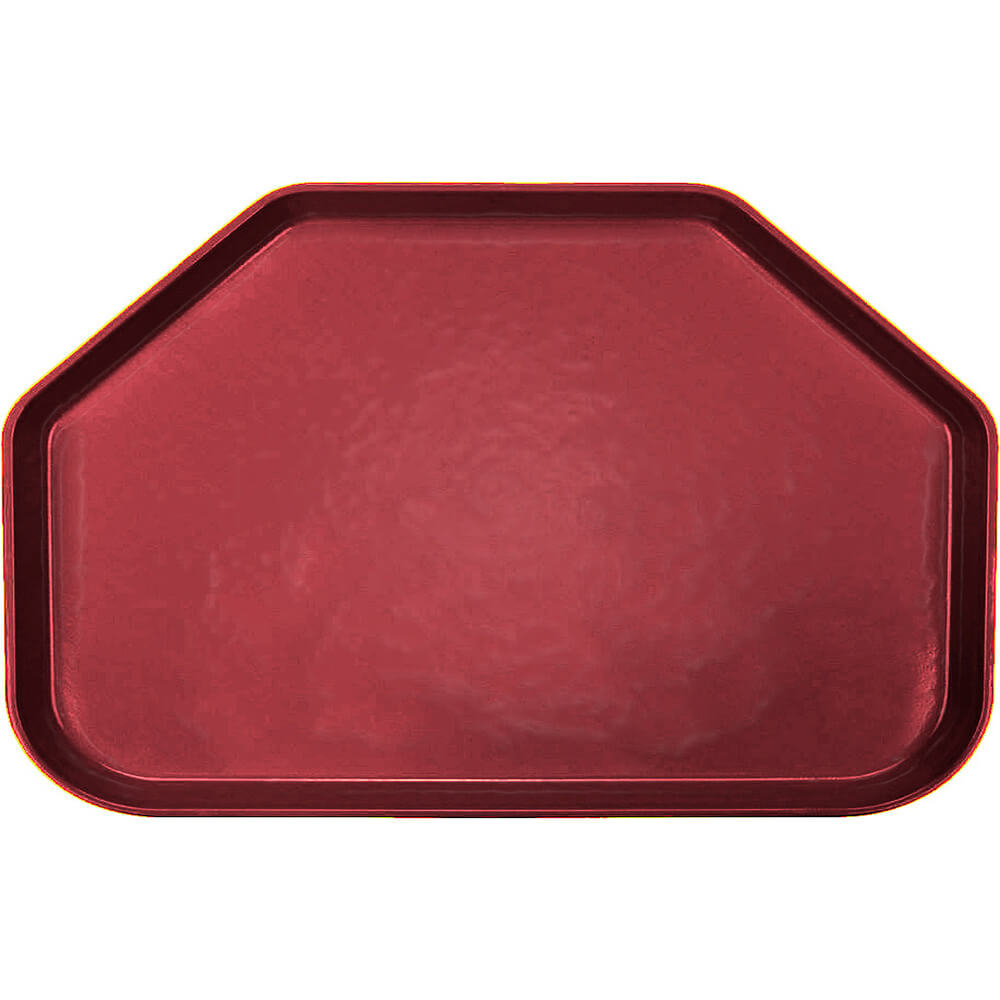 "Cherry Red, 14""x22"" Trapezoid Food Trays, Fiberglass, 12/PK"