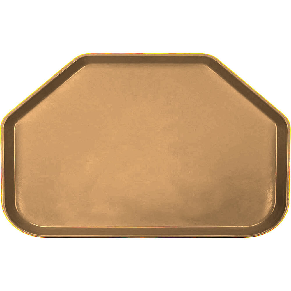 "Suede Brown, 14""x22"" Trapezoid Food Trays, Fiberglass, 12/PK"