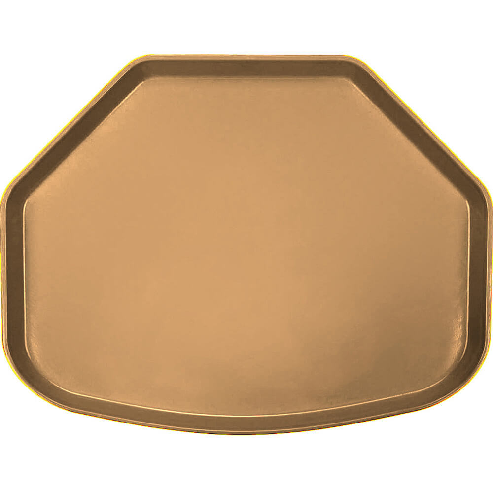 "Suede Brown, 15"" x 20"" Trapezoid Food Trays, Fiberglass, 12/PK"