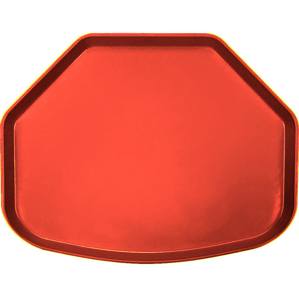 "Signal Red, 15"" x 20"" Trapezoid Food Trays, Fiberglass, 12/PK"