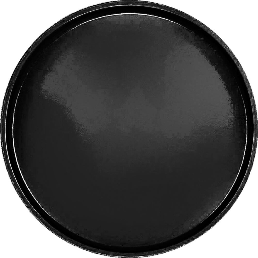 "Black, 19-1/2"" Low Profile Round Serving Tray, Fiberglass, 12/PK"