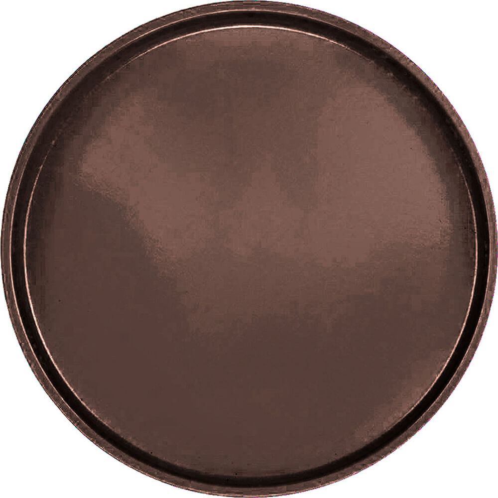 "Brazil Brown, 19-1/2"" Low Profile Round Serving Tray, Fiberglass, 12/PK"