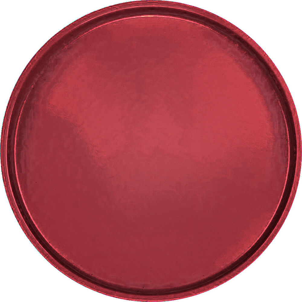 "Cherry Red, 19-1/2"" Low Profile Round Serving Tray, Fiberglass, 12/PK"