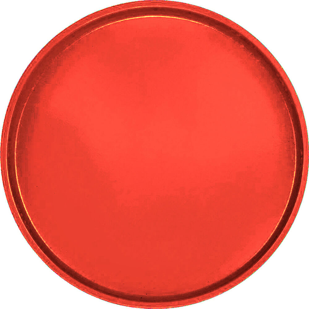 "Signal Red, 19-1/2"" Low Profile Round Serving Tray, Fiberglass, 12/PK"