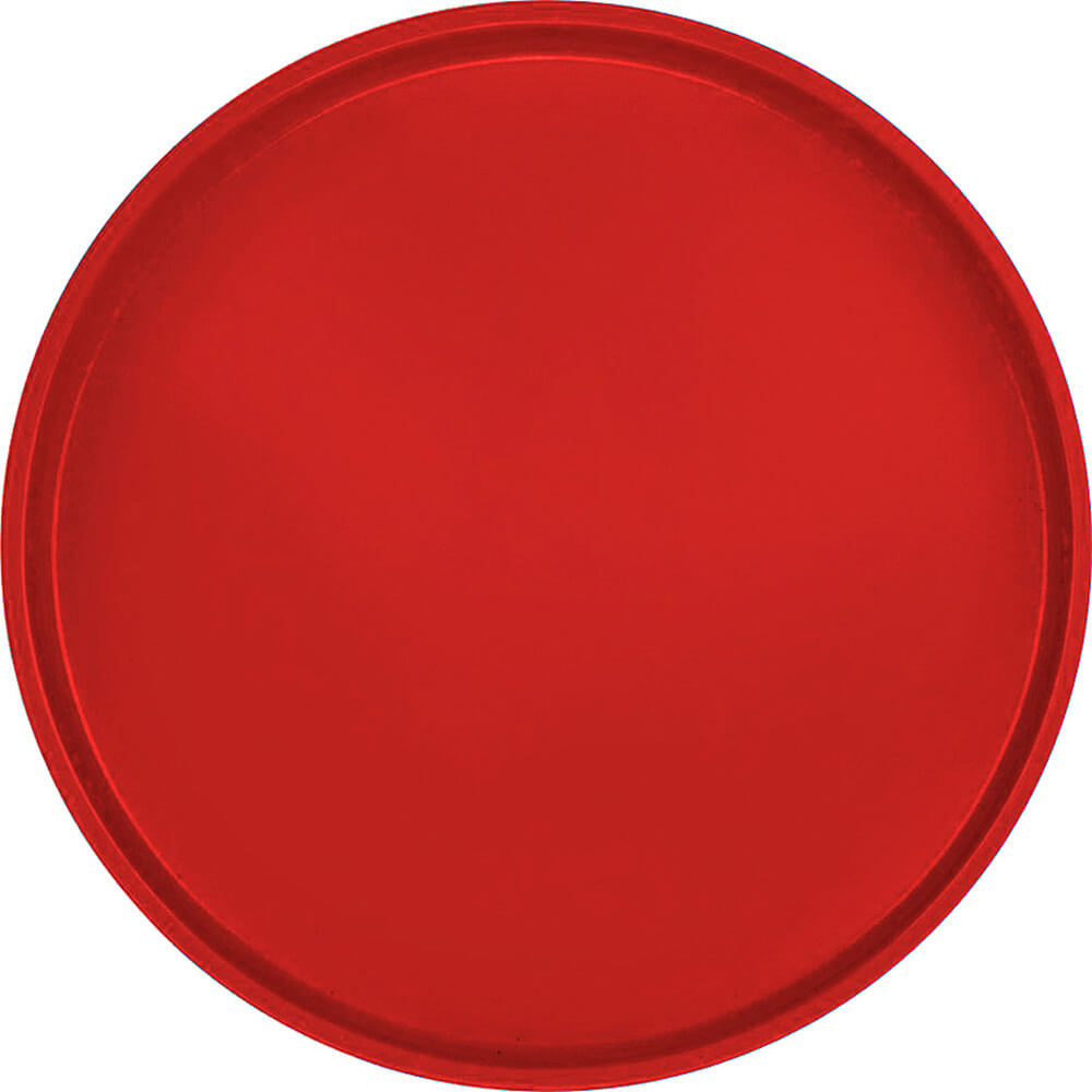 "Cambro Red, 19-1/2"" Low Profile Round Serving Tray, Fiberglass, 12/PK"
