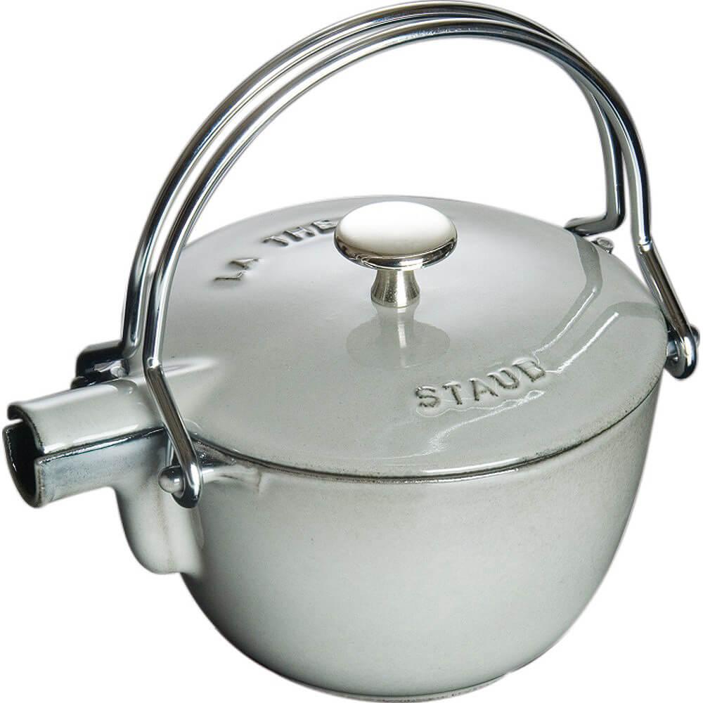 Graphite Grey, Round Cast Iron Teapot / Kettle, 1 Qt