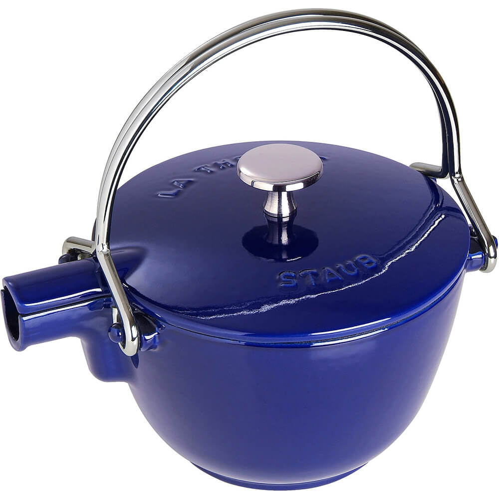 Dark Blue, Round Cast Iron Teapot / Kettle, 1 Qt