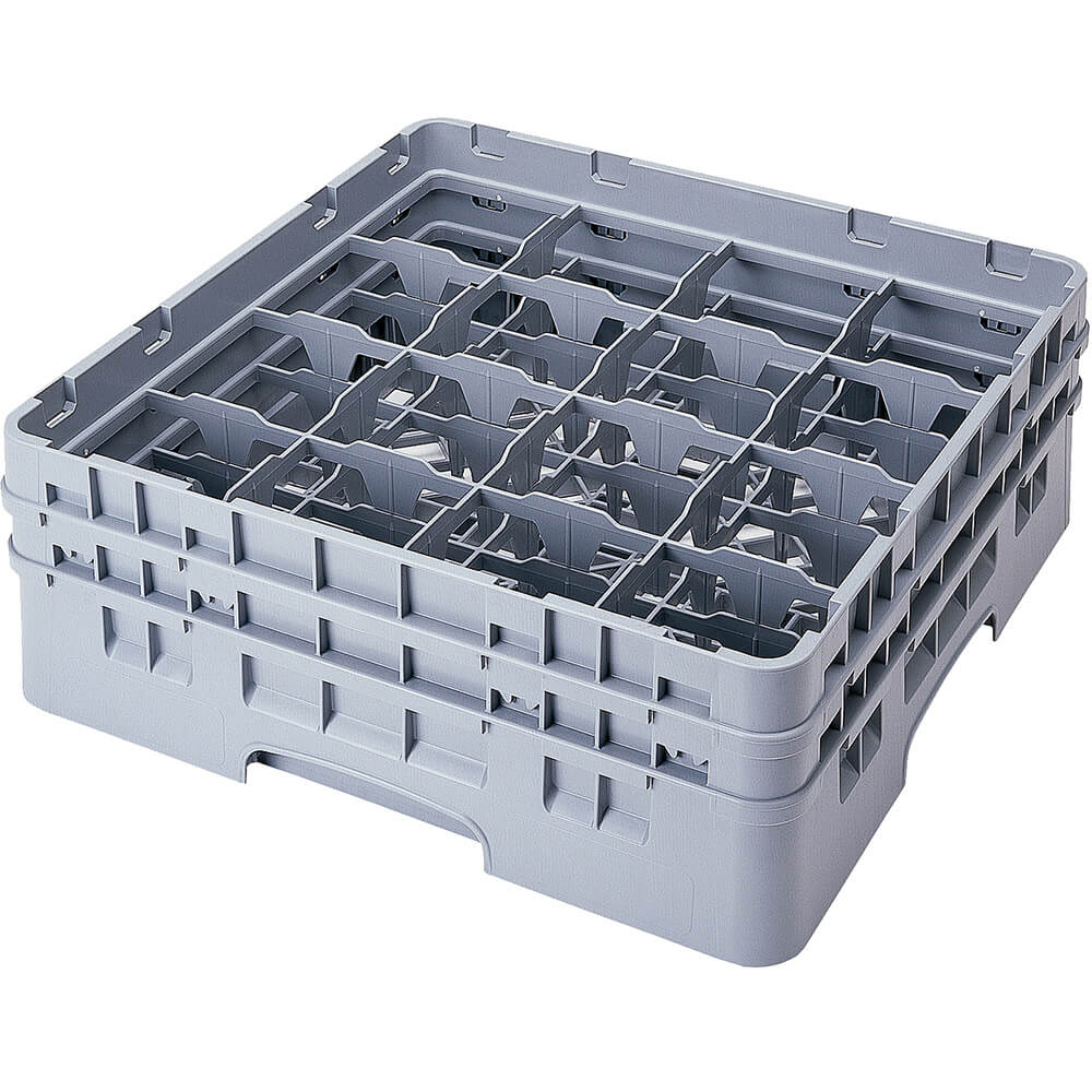 "Soft Gray, 16 Comp. Glass Rack, Full Size, 9-3/8"" H Max."