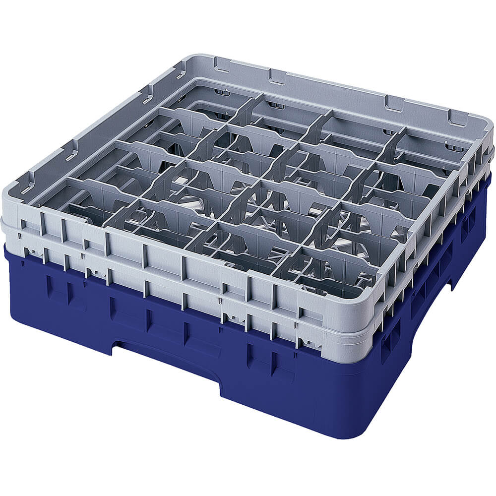 "Navy Blue, 16 Comp. Glass Rack, Full Size, 9-3/8"" H Max."