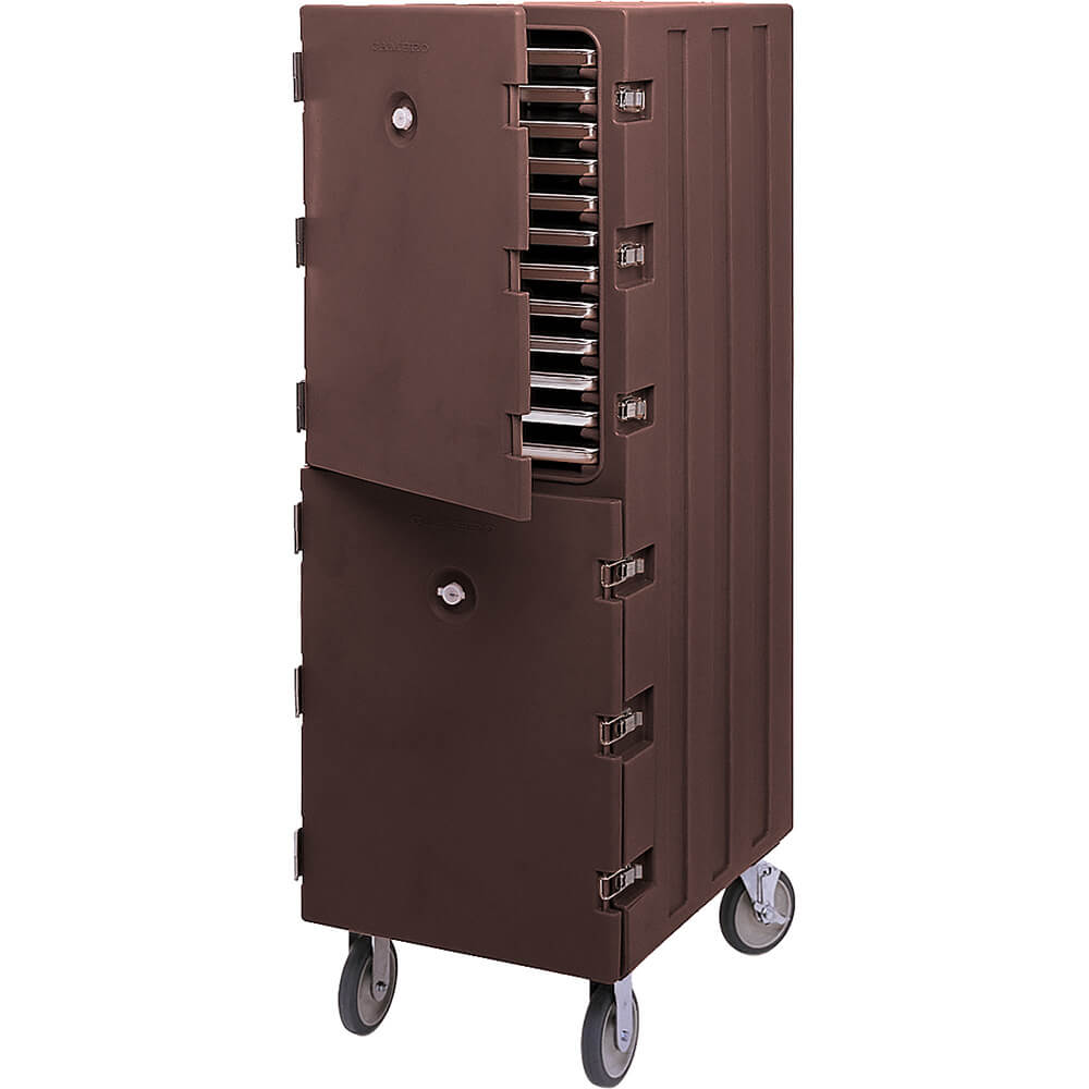 Dark Brown, Double Compartment Food Cart for Sheet Pans / Trays