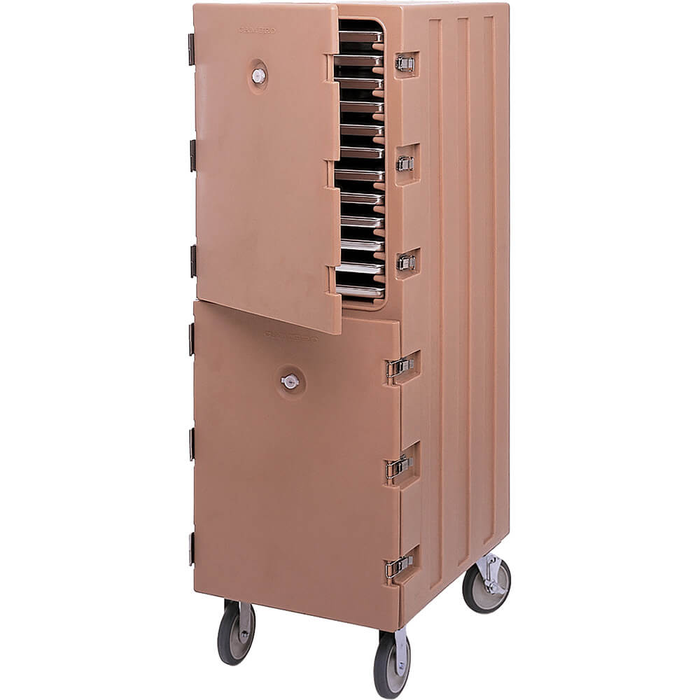 Coffee Beige, Double Compartment Food Cart for Sheet Pans / Trays