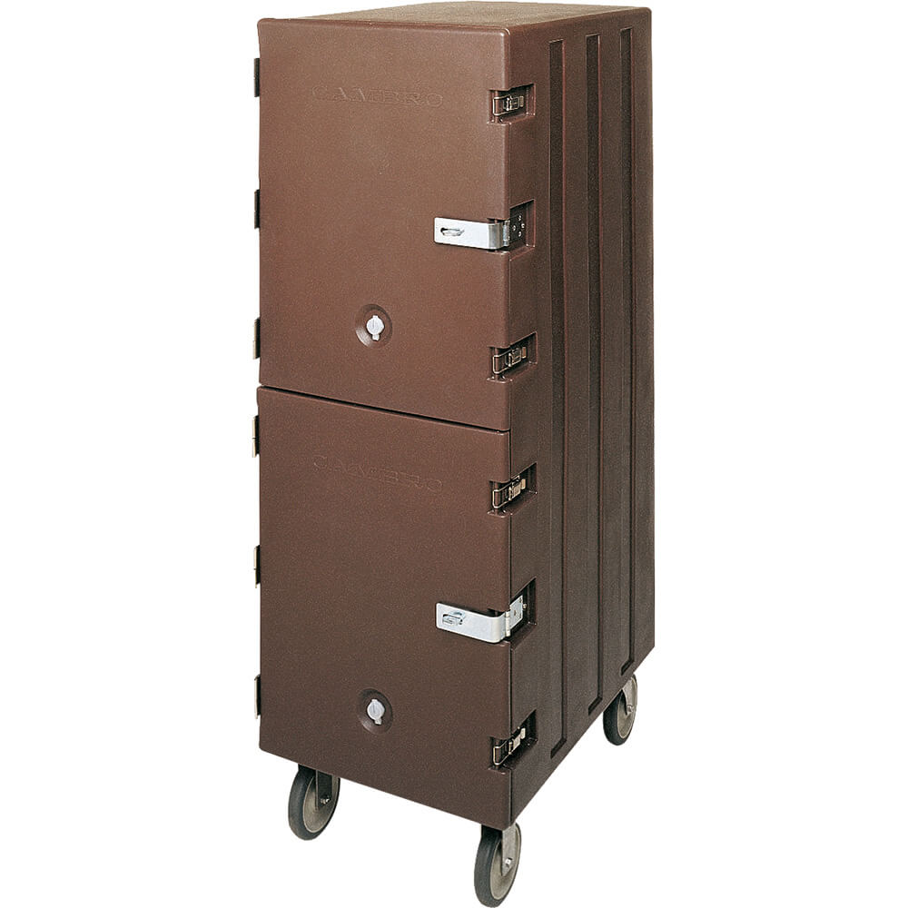 Dark Brown, Double Compartment Food Cart for 18x26 Boxes, Lockable