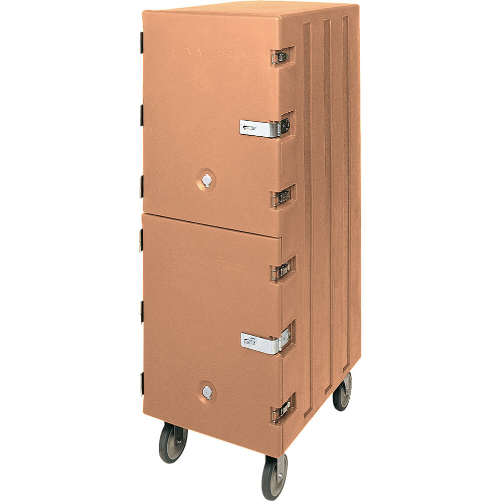 Coffee Beige, Double Compartment Food Cart for 18x26 Boxes, Lockable