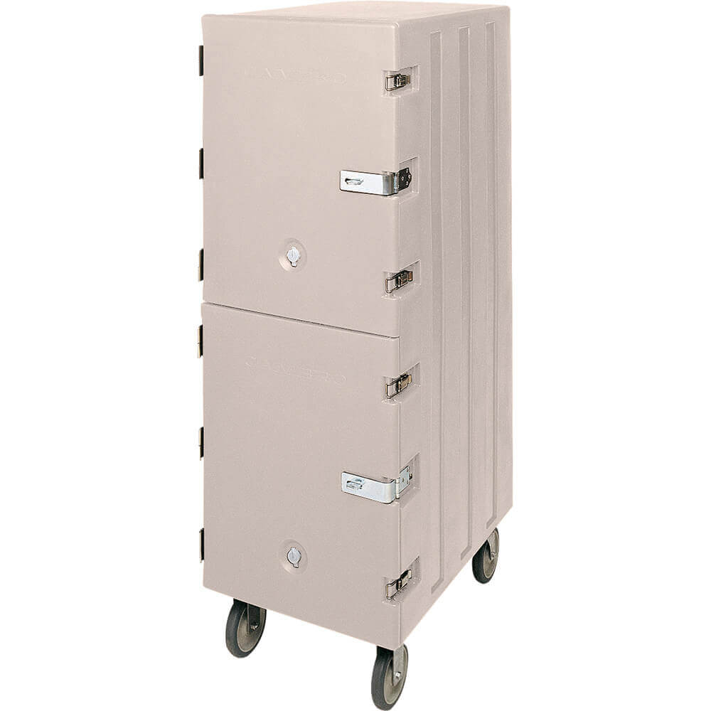 Gray, Double Compartment Food Cart for Sheet Pans / Trays, Lockable