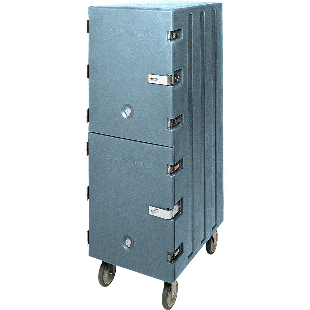 Slate Blue, Double Compartment Food Cart for 18x26 Boxes, Lockable