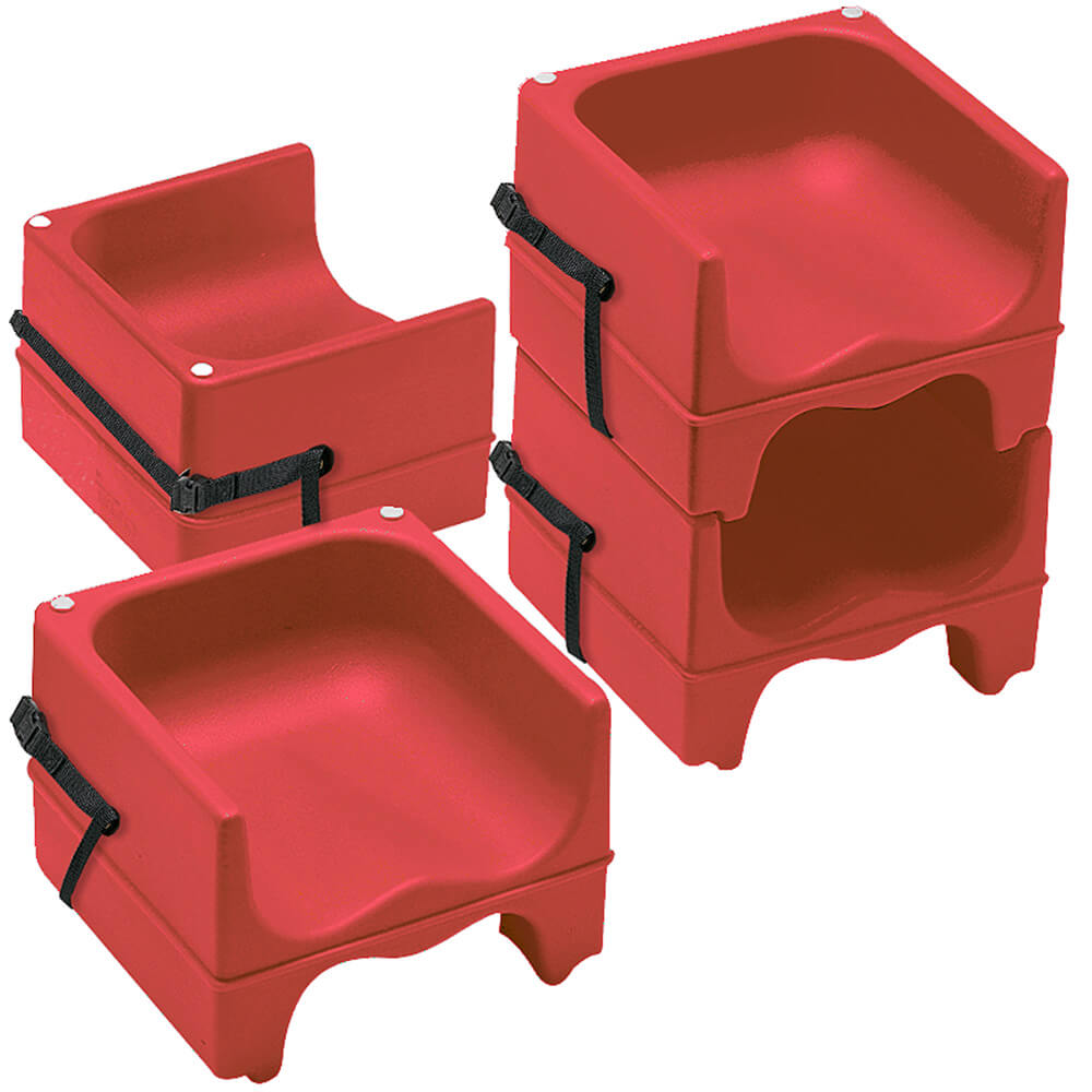 Hot Red, Dual Height Booster Seat with Strap, 4/PK