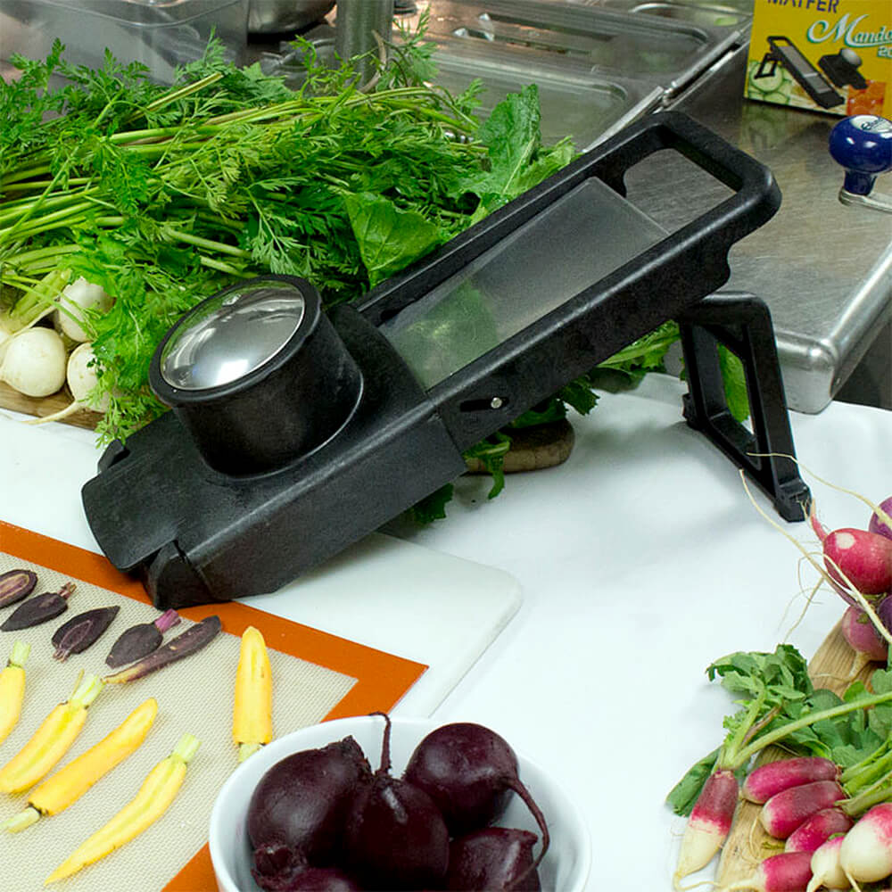 Black, Fiberglass Mandolin Slicer 2000S With 2 Safety Pusher View 3