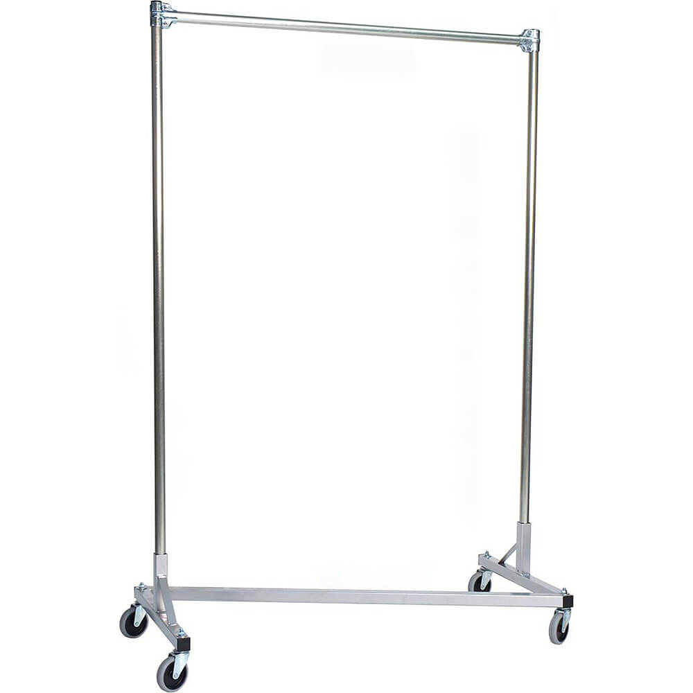 "Silver Z-Rack, Heavy Duty Clothes Rack 36"" L x 60"" Uprights, Single Rail"