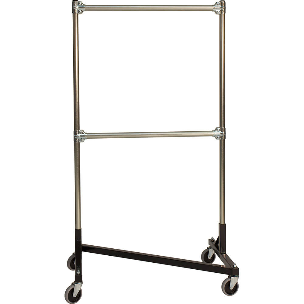 "Black Z-Rack, Heavy Duty Clothes Rack 36"" L x 60"" Uprights, Double Rail"