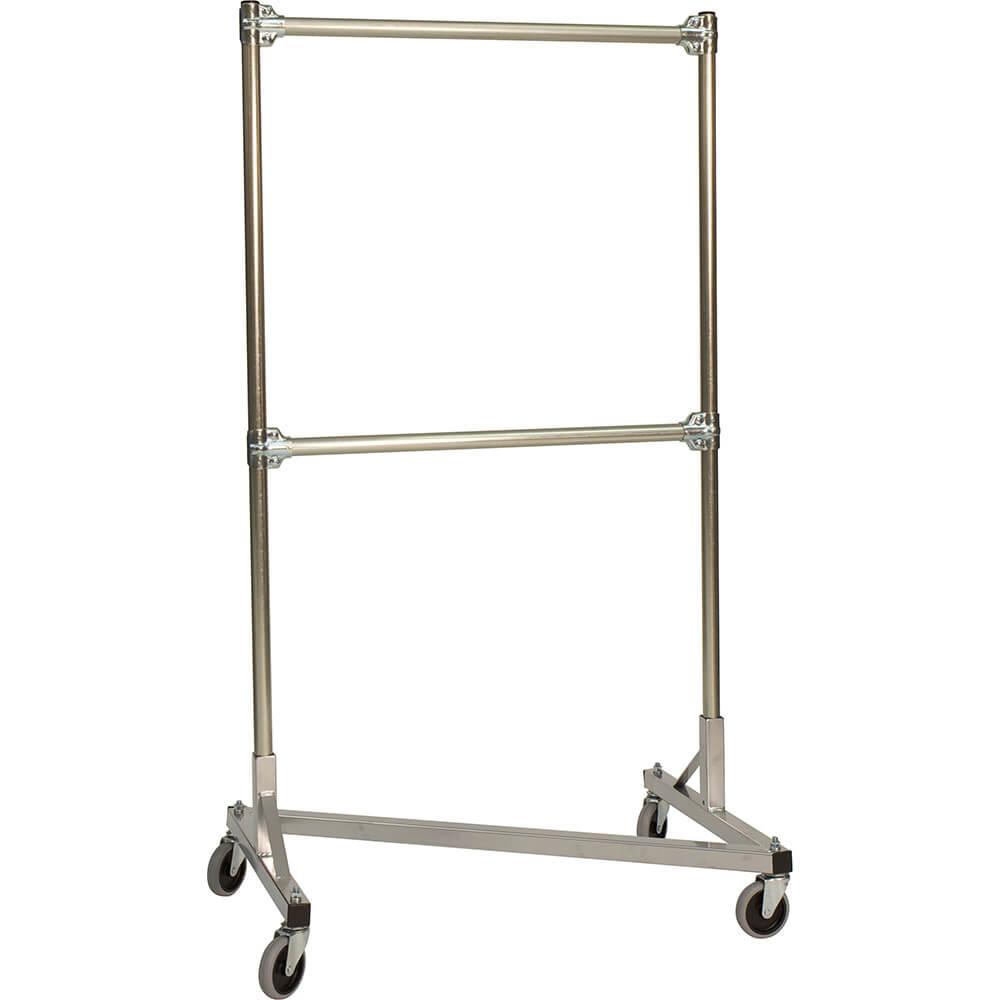 "Silver Z-Rack, Heavy Duty Clothes Rack 36"" L x 60"" Uprights, Double Rail"