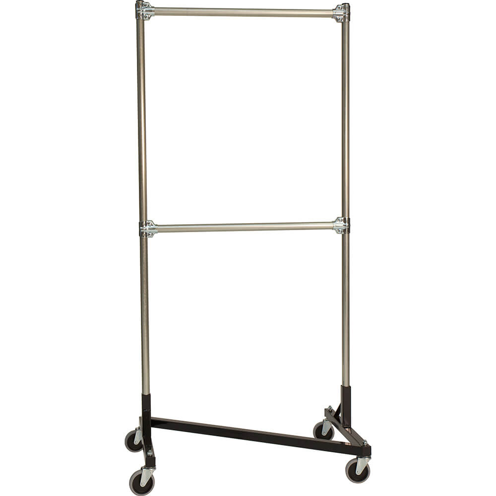 "Black Z-Rack, Heavy Duty Clothes Rack 36"" L x 72"" Uprights, Double Rail"
