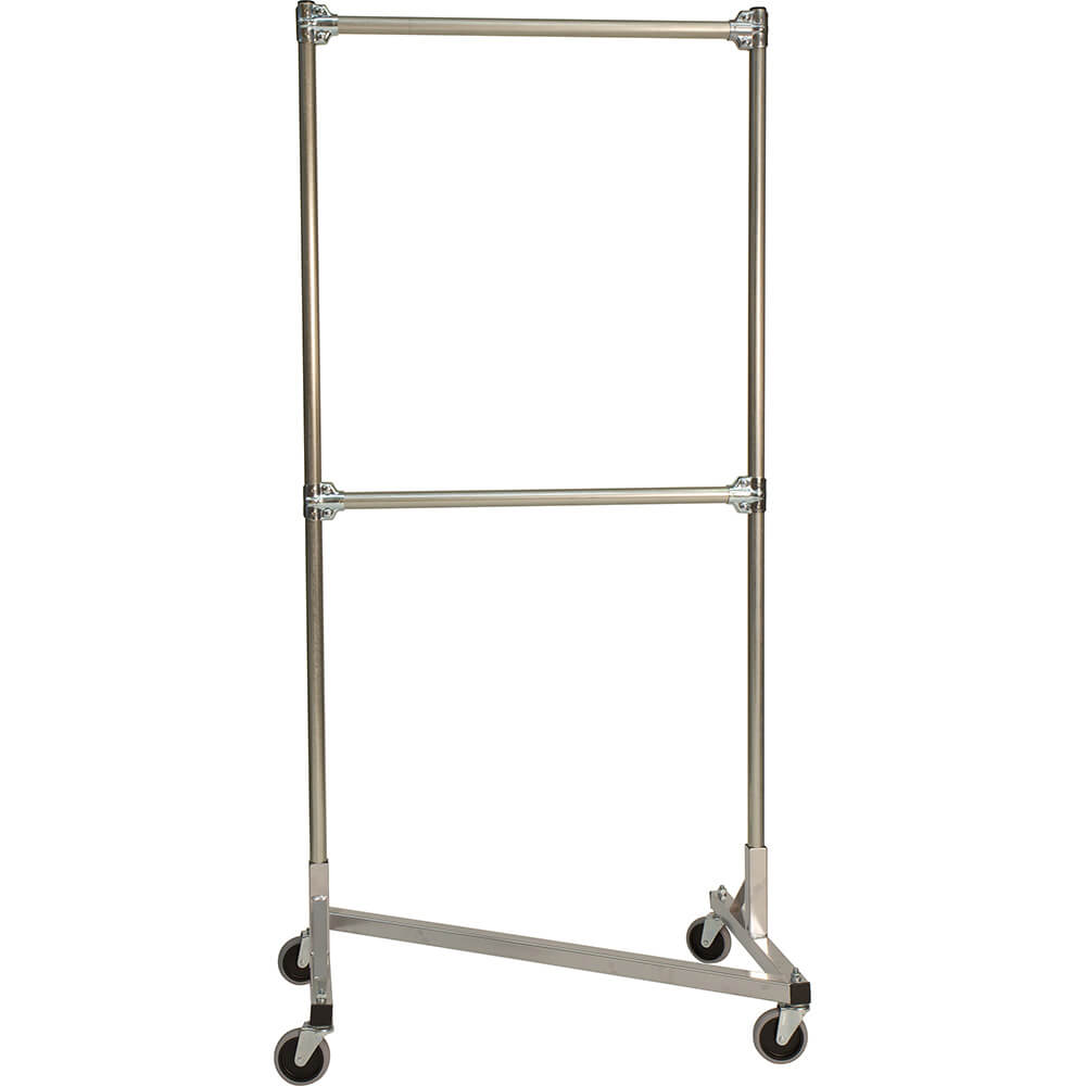 "White Z-Rack, Heavy Duty Clothes Rack 36"" L x 72"" Uprights, Double Rail"