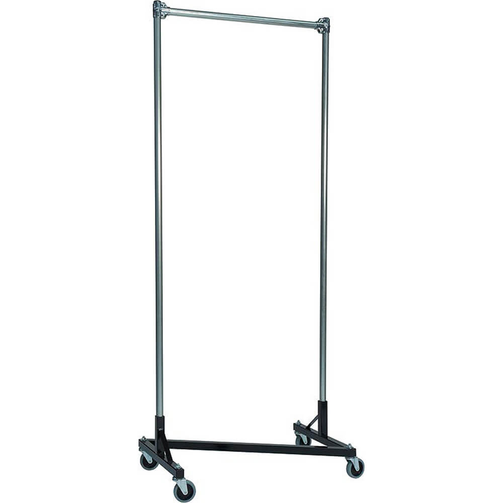 "Black Z-Rack, Heavy Duty Clothes Rack 36"" L x 84"" Uprights, Single Rail"