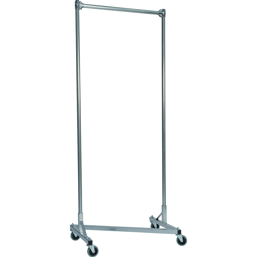 "Silver Z-Rack, Heavy Duty Clothes Rack 36"" L x 84"" Uprights, Single Rail"