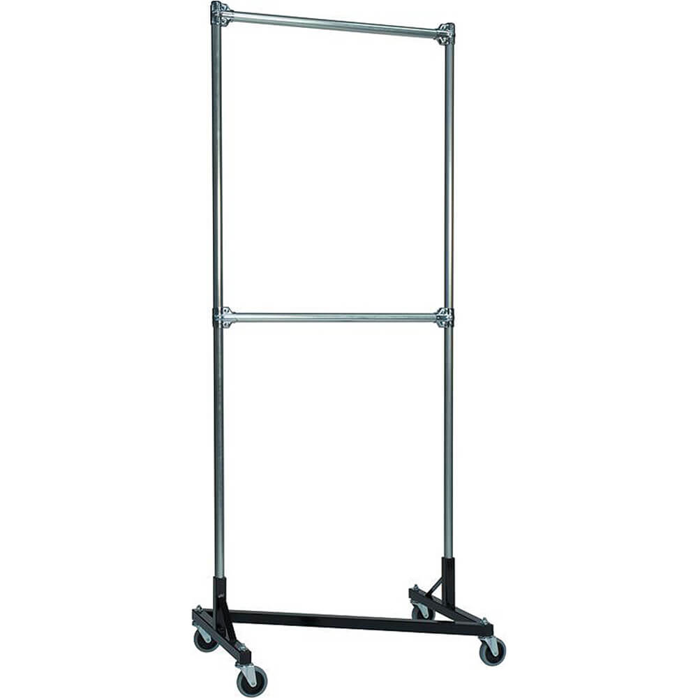 "Black Z-Rack, Heavy Duty Clothes Rack 36"" L x 84"" Uprights, Double Rail"