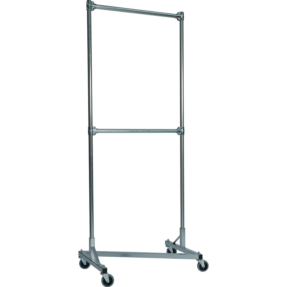"White Z-Rack, Heavy Duty Clothes Rack 36"" L x 84"" Uprights, Double Rail"