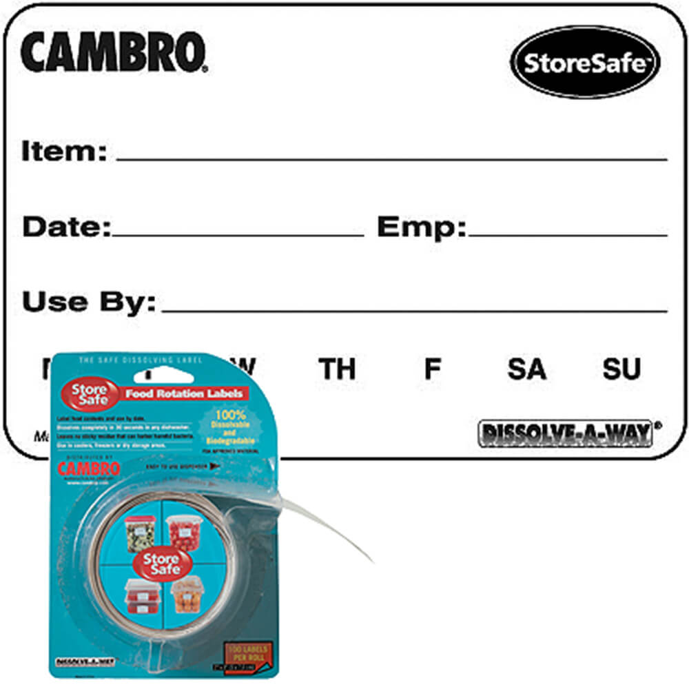 Food Rotation Dissolvable Labels, Blister Pack, 2000/PK, 1/PK