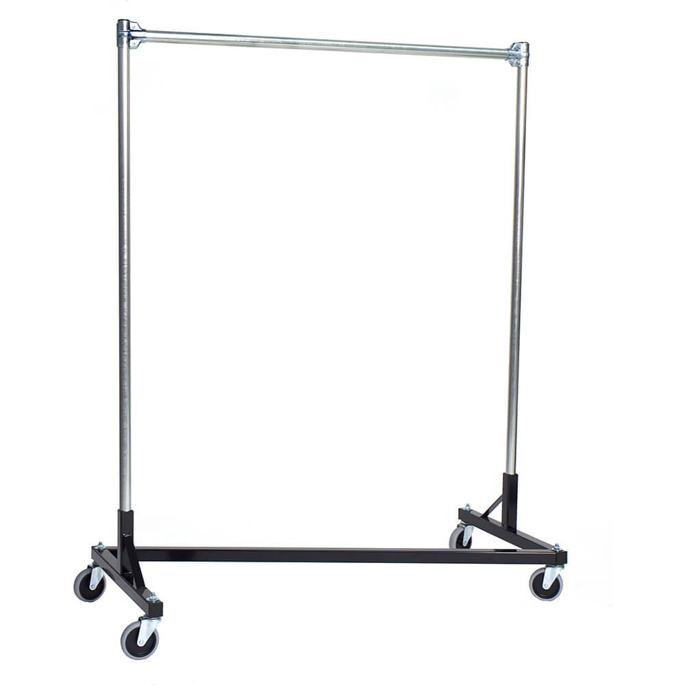 "Black Z-Rack, Heavy Duty Clothes Rack 48"" L x 60"" Uprights, Single Rail"