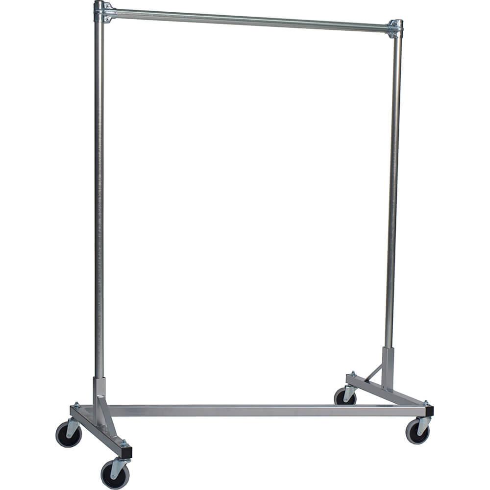"Silver Z-Rack, Heavy Duty Clothes Rack 48"" L x 60"" Uprights, Single Rail"