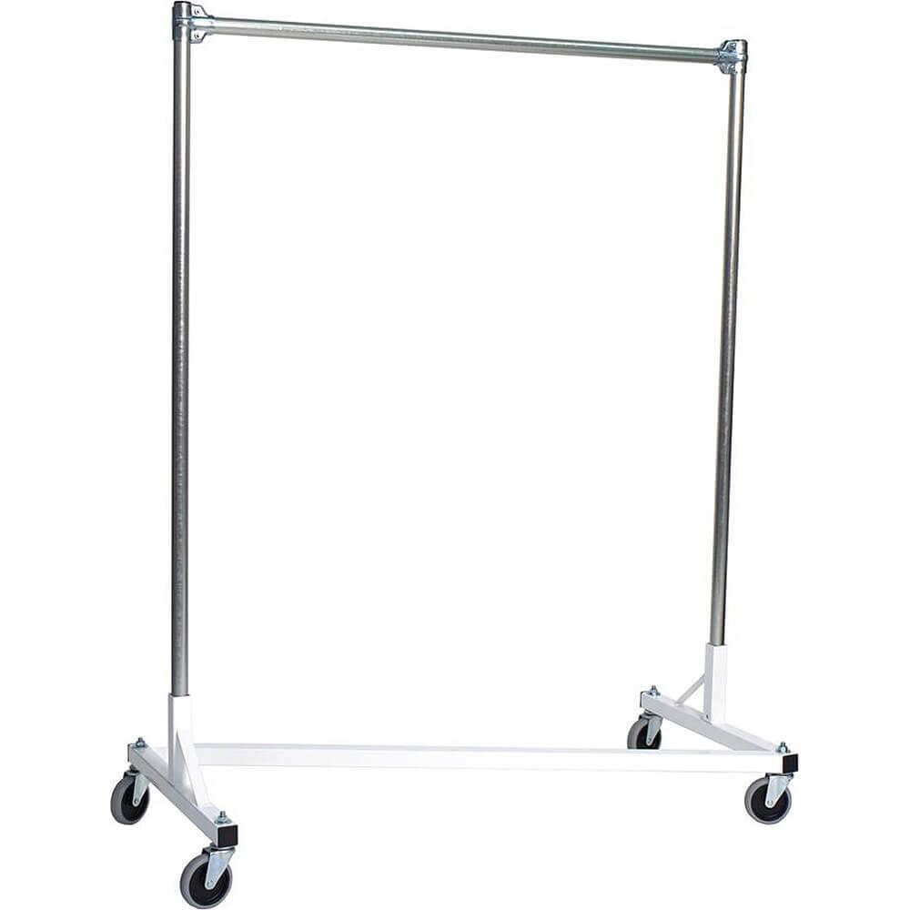 "White Z-Rack, Heavy Duty Clothes Rack 48"" L x 60"" Uprights, Single Rail"