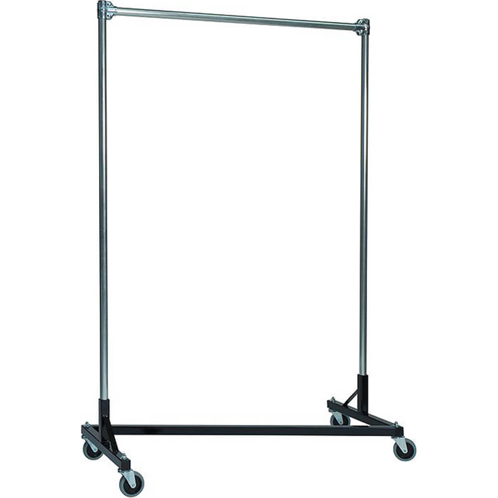 "Black Z-Rack, Heavy Duty Clothes Rack 48"" L x 72"" Uprights, Single Rail"