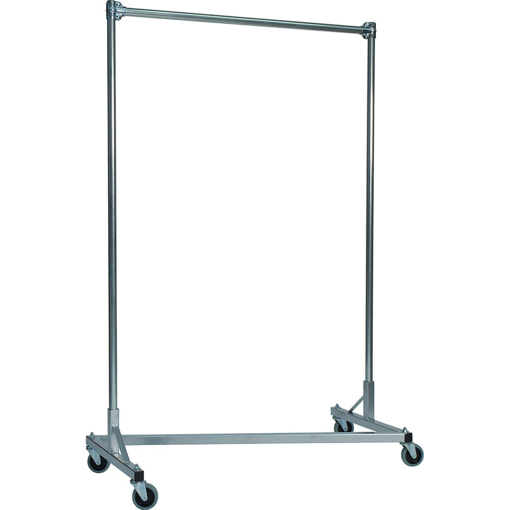 "Silver Z-Rack, Heavy Duty Clothes Rack 48"" L x 72"" Uprights, Single Rail"