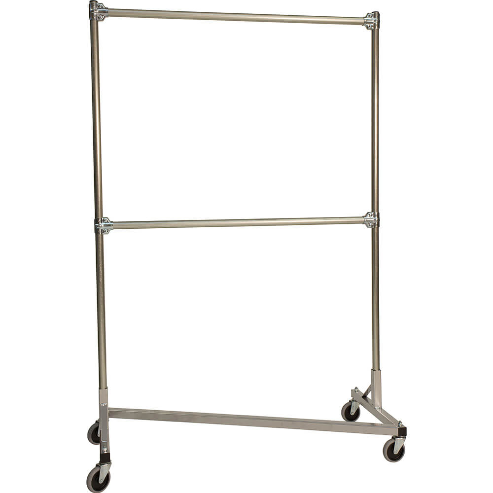 "Silver Z-Rack, Heavy Duty Clothes Rack 48"" L x 72"" Uprights, Double Rail"
