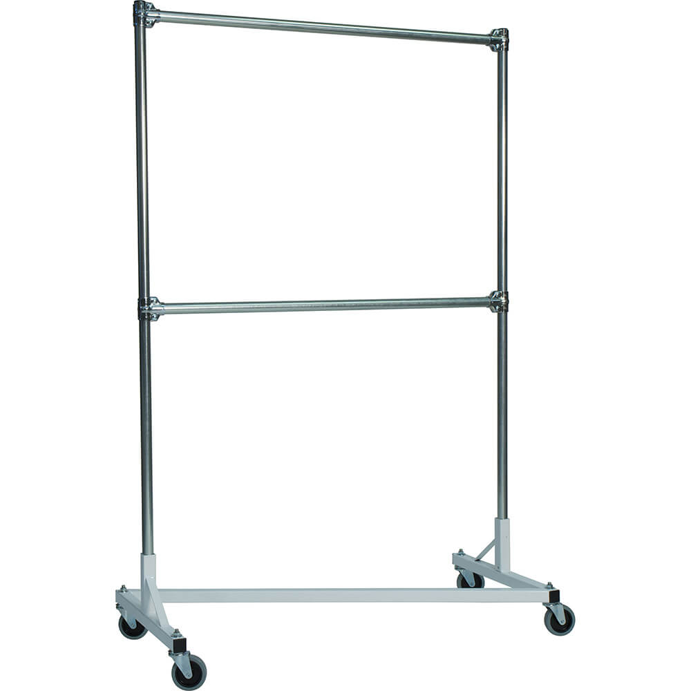 "White Z-Rack, Heavy Duty Clothes Rack 48"" L x 72"" Uprights, Double Rail"