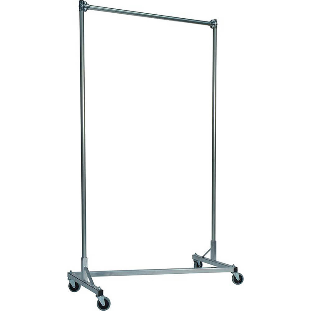 "Silver Z-Rack, Heavy Duty Clothes Rack 48"" L x 84"" Uprights, Single Rail"