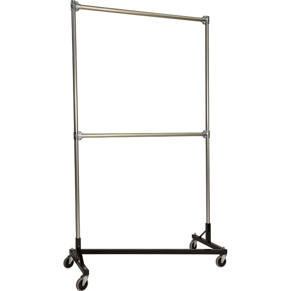"Black Z-Rack, Heavy Duty Clothes Rack 48"" L x 84"" Uprights, Double Rail"