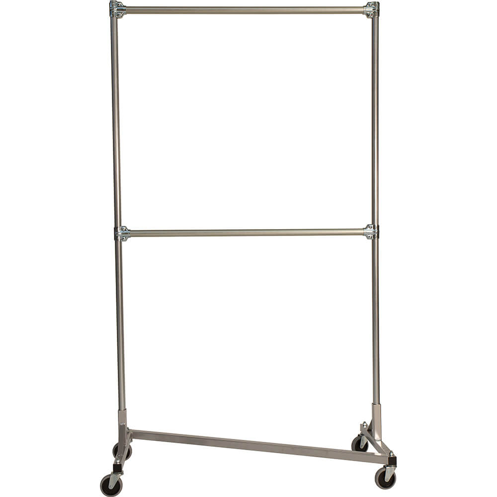 "Silver Z-Rack, Heavy Duty Clothes Rack 48"" L x 84"" Uprights, Double Rail"