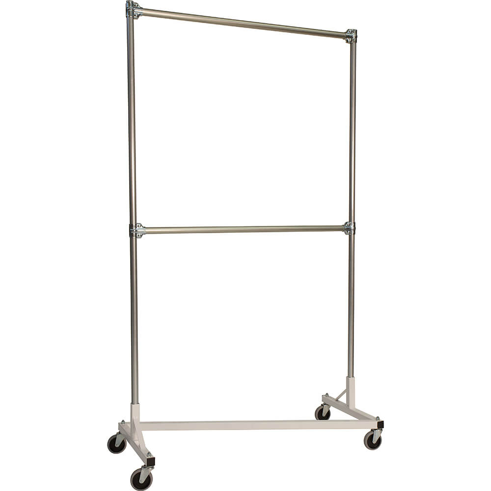 "White Z-Rack, Heavy Duty Clothes Rack 48"" L x 84"" Uprights, Double Rail"