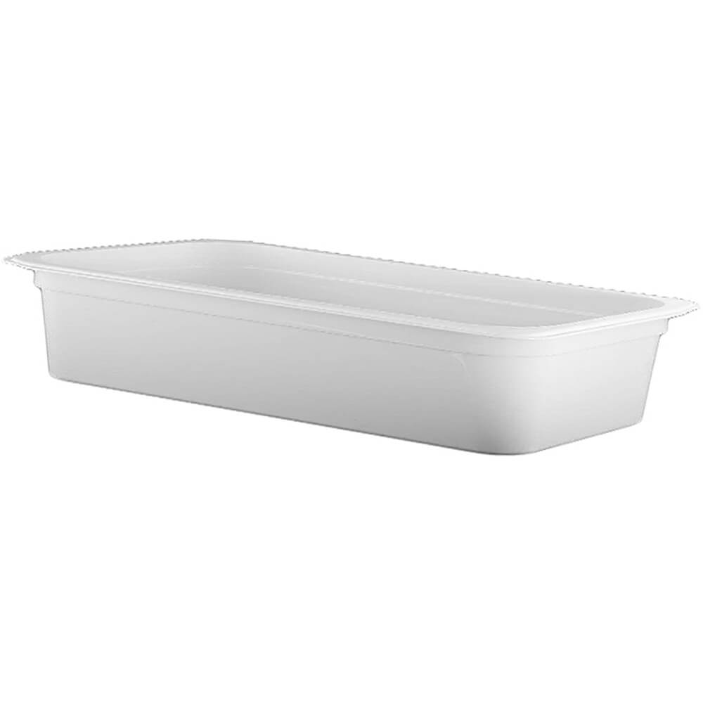 "White, 1/2 GN Long Food Pan, 4"" Deep, 6/PK"