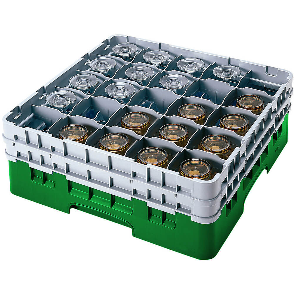 "Sherwood Green, 25 Comp. Glass Rack, Full Size, 12-5/8"" H Max."