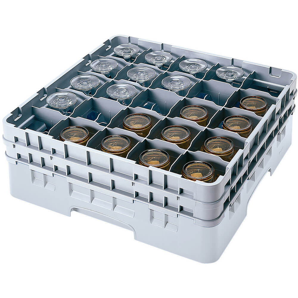 "Soft Gray, 25 Comp. Glass Rack, Full Size, 6-1/8"" H Max."