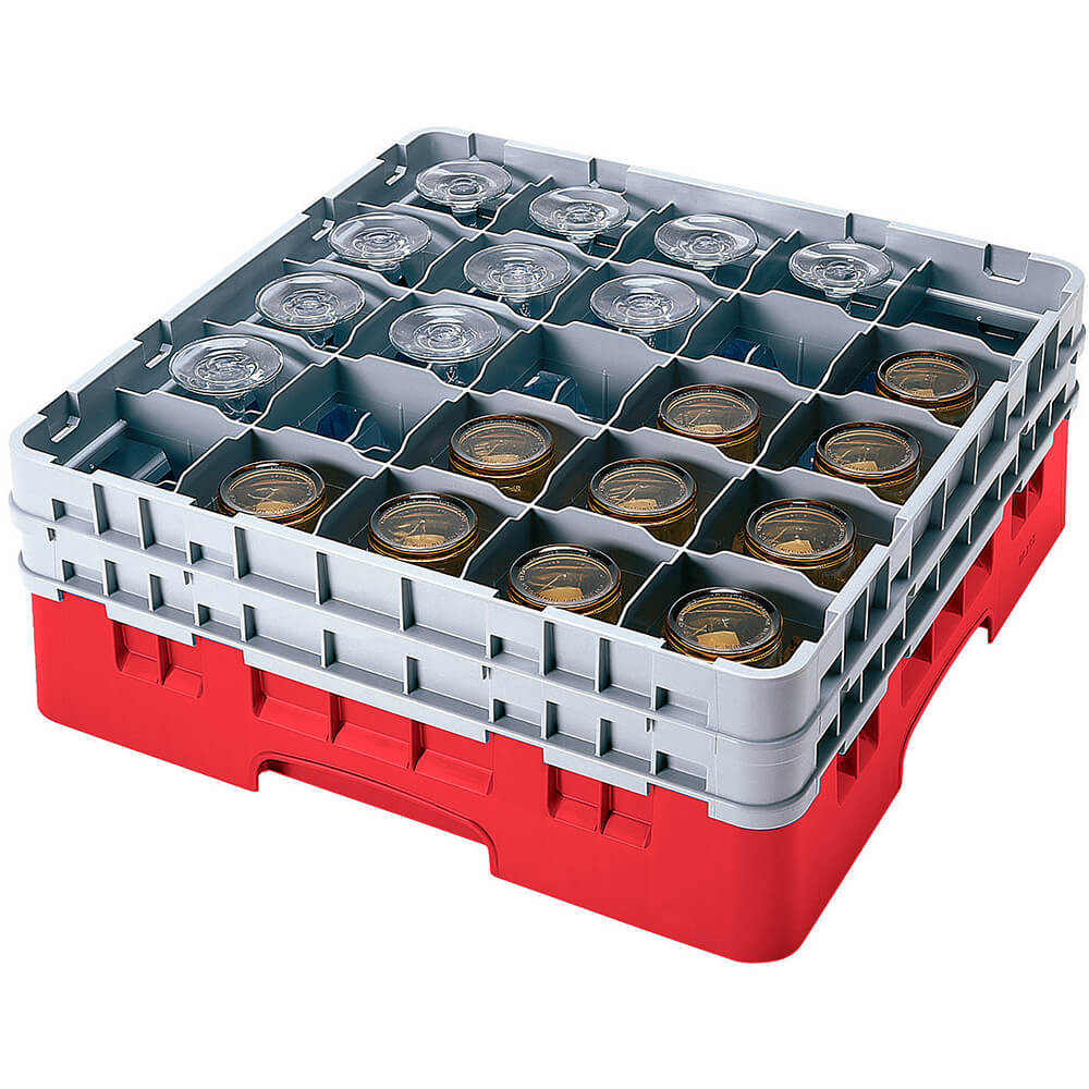 "Red, 25 Comp. Glass Rack, Full Size, 10-1/8"" H Max."