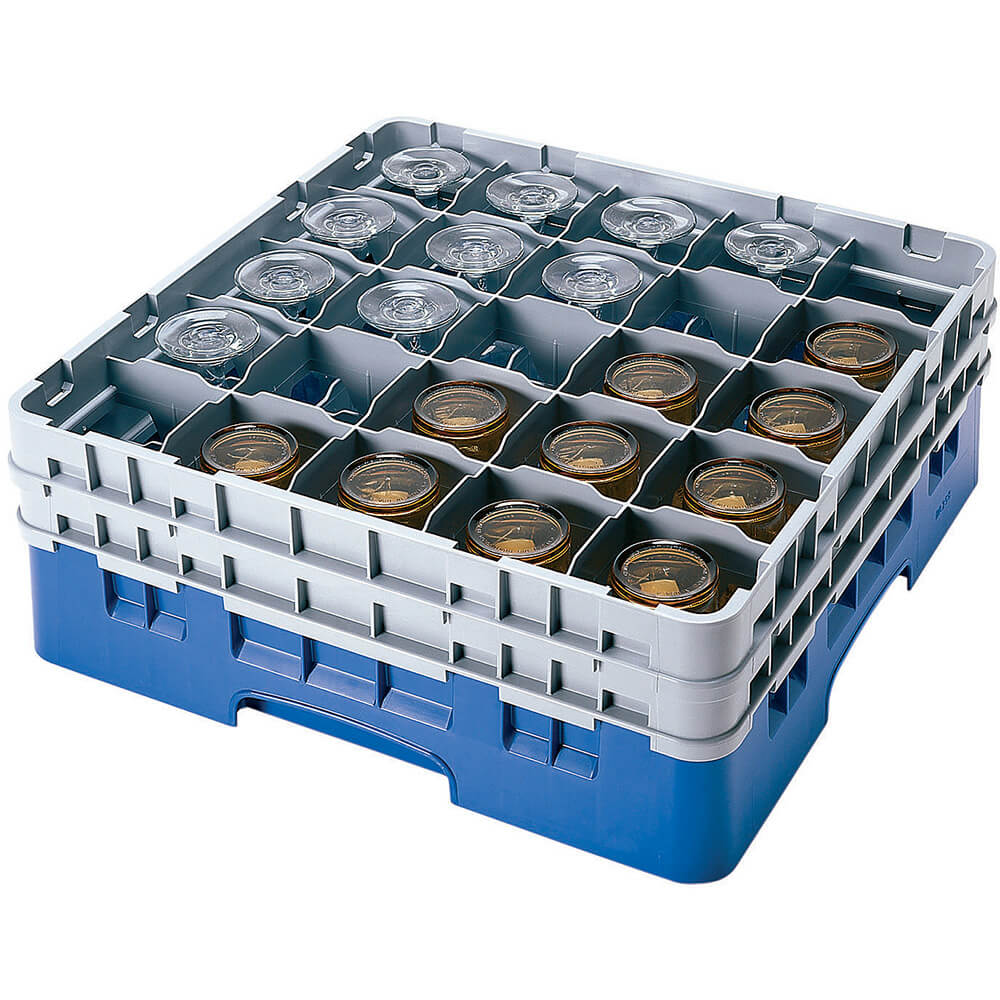 "Blue, 25 Comp. Glass Rack, Full Size, 9-3/8"" H Max."